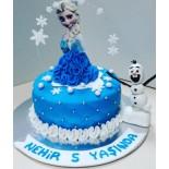 Şeker Hamurlu Pasta Elsa Olaf Temalı 10 Kişilik