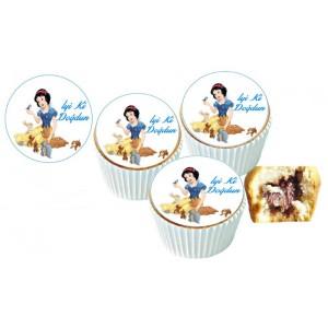 Pamuk Prenses  Cupcake Resimli Yenilebilir 10 Adet