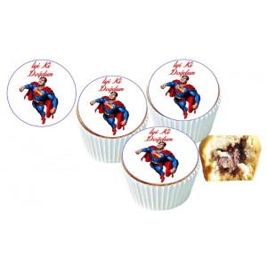 Süpermen Cupcake Resimli Yenilebilir 10 Adet