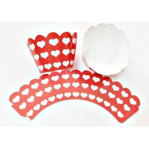 Kırmızı Beyaz Kalpli  Cupcake Sargı  7x3x4 cm Ebat keklere Uygun 10 lu