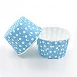 Cupcake Kağıdı 20'li Kalıp Gerektirmez 8x4 cm Mavi Puantiye Desenli