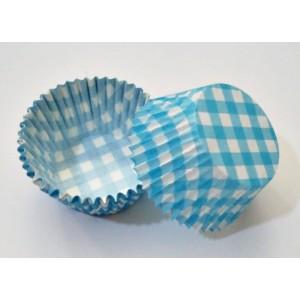 Cupcake Kağıdı No:3 8x3,5cm 40 Adet Mavi Ekoseli