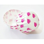 Cupcake Kağıdı 20'li Kalıp Gerektirmez 8x4 cm Pembe Kalp  Desenli