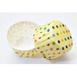 Cupcake Kağıdı 20'li Kalıp Gerektirmez 8x4 cm Sarı Üzerine Puantiye Desenli