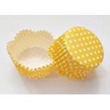 Cupcake Kağıdı 20'li Kalıp Gerektirmez 65x38 mm Sarı Puantiye Desenli