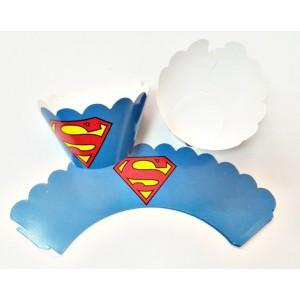 Süpermen Cupcake  Sargı  7x3x4 cm Ebat Keklere Uygun 10 lu