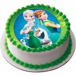 Elsa Anna Olaf Resimli Şantili Pasta 10 Kişilik
