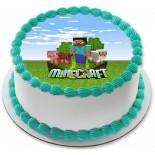 Minecraft Resimli Şantili Pasta 10 Kişilik