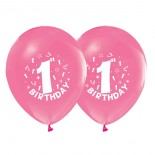 Balon Bir Yaş Pembe 5 Adet