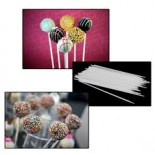 Lolipop Cake pops  Çubuğu 15 cm  Beyaz  Renk 25 Adet