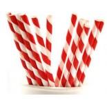 Kağıt Pipet Kırmızı Beyaz Çizgili 25 Adet